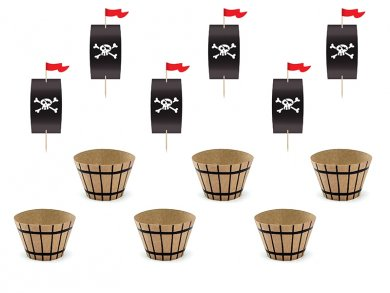 Κόκκινος Πειρατής Σετ Για Cupcakes 6τμχ