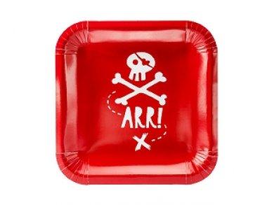 Κόκκινος Πειρατής Χάρτινα Πιάτα 6τμχ