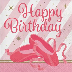 Ballet Happy Birthday luncheon napkins 16/pcs