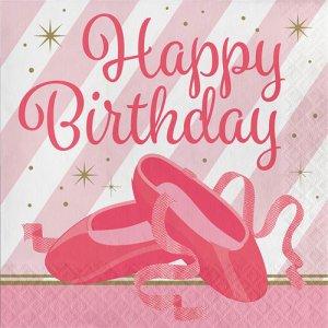Μπαλέτο Χαρτοπετσέτες Happy Birthday 16/Τμχ