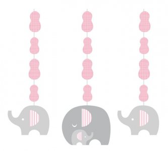 Μικρό Ελεφαντάκι Ροζ Κρεμαστά Διακοσμητικά (3τμχ)