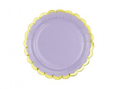 Λιλά Μικρά Χάρτινα Πιάτα Με Χρυσή Μπορντούρα 6τμχ