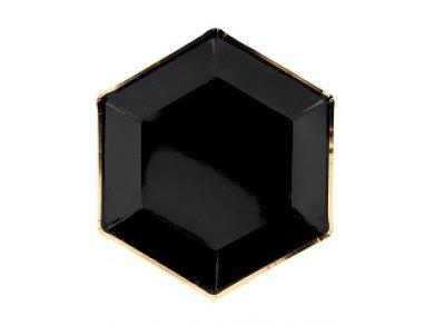 Μαύρα Χάρτινα Πιάτα Με Χρυσό Περίγραμμα 6τμχ
