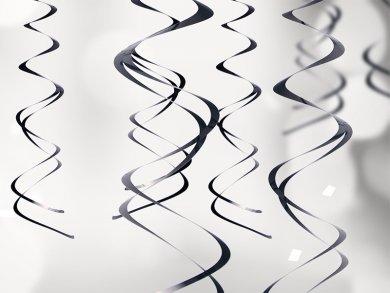 Black Hanging Swirl Decoration (5pcs)