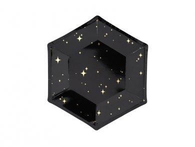 Μαύρα Μικρά Χάρτινα Πιάτα Με Χρυσά Αστέρια 6τμχ