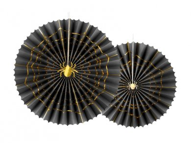 Black Decorative Fans with Gold Spiders 2/pcs