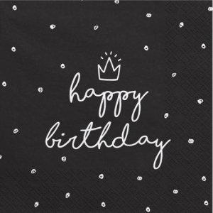 Μαύρες Χαρτοπετσέτες Με Άσπρο Happy Birthday 20τμχ