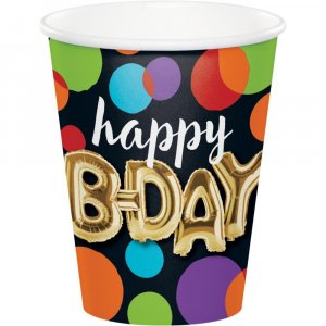 Black with Dots Gold Bday Paper Cups 8/pcs