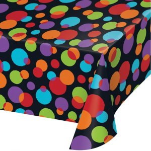 Black Plastic Tablecover with Colorful Dots