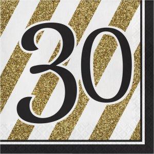 Μαύρο-Χρυσό Χαρτοπετσέτες Με Τον Αριθμό 30 16/Τμχ