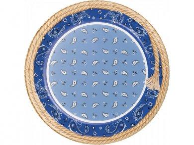 Μπλε Μπαντάνα Μεγάλα Χάρτινα Πιάτα (8τμχ)