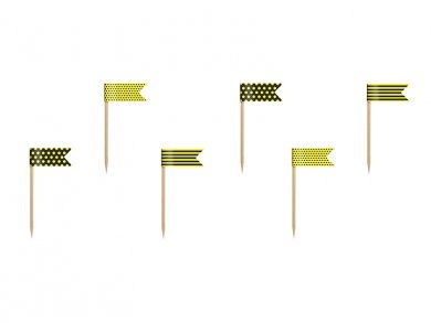 Bee mini flags toppers (6pcs)