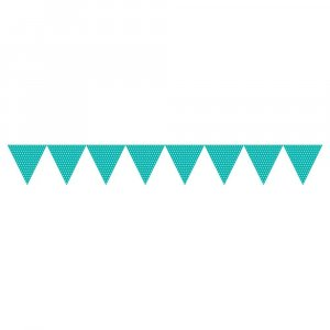 Teal with Dots Paper Flag Banner