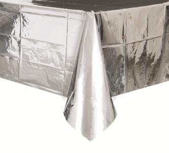 Metallic silver plastic tablecover