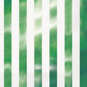 Μεταλλικό Πράσινο Ριγέ Χαρτοπετσέτες 16/Τμχ