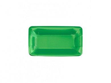 Μεταλλικό Πράσινο Μακρόστενα Χάρτινα Πιάτα (8τμχ)