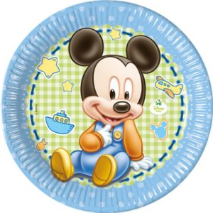Mickey Baby Large Paper Plates (8pcs)