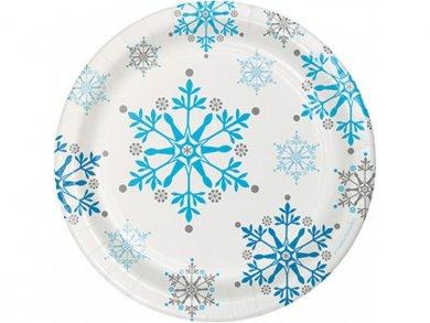 Snowflakes Small Paper Plates 8pcs
