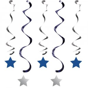 Twinkle Little Star Blue Hanging Swirl Decoration 5/pcs