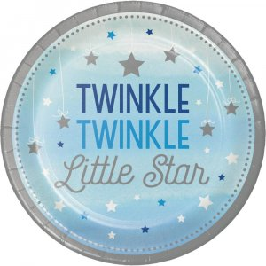 Twinkle Little Star Blue Large Paper Plates (8pcs)