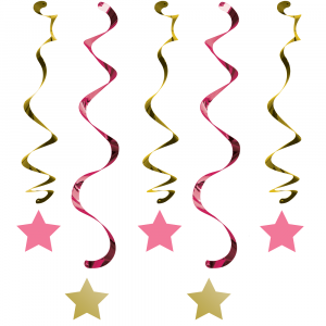 Twinkle Little Star Pink swirl decoration (5pcs)