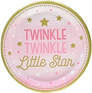 Twinkle Little Star Pink Large Paper Plates 8/pcs