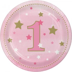 Twinkle Little Star Pink Small Paper Plates for First Birthday 8/pcs