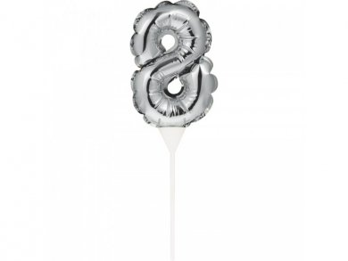 Mini Silver Foil Balloon Number 8