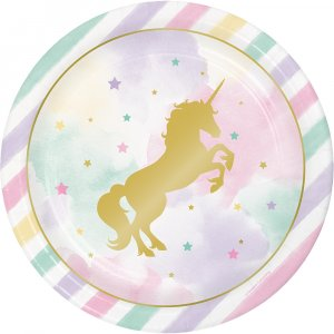 Unicorn with Stars Large paper plates 8/pcs