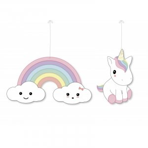 Unicorn & Rainbow Hanging Cutout Decorations 2/pcs