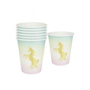 Unicorn Gold Foiled Paper Cups 12/pcs