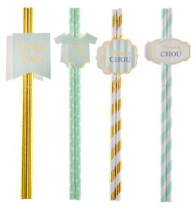 Monsieur Chou Mint & Gold Paper Straws for Baby Shower (8pcs)