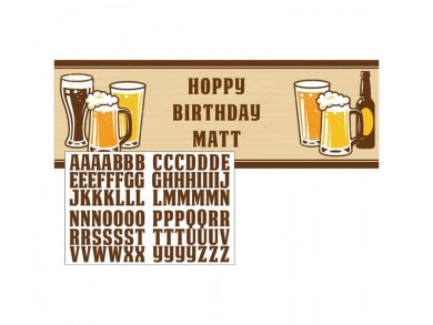 Beer Party Banner with Stickers (50cm x 150cm)