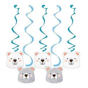 Blue Bear Hanging Swirl Decoration (5pcs)