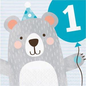 Μπλε Αρκούδος Χαρτοπετσέτες Για Πρώτα Γενέθλια (16τμχ)