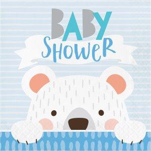 Blue Bear Baby Shower Luncheon Napkins 16/pcs