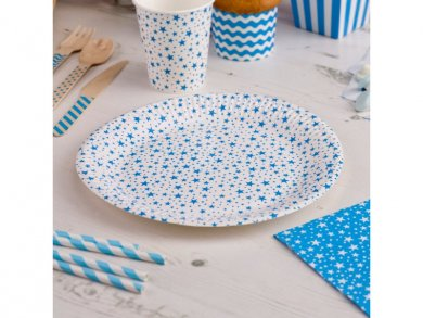 Μπλε Αστεράκια Μεγαλα Χάρτινα Πιάτα (8τμχ)