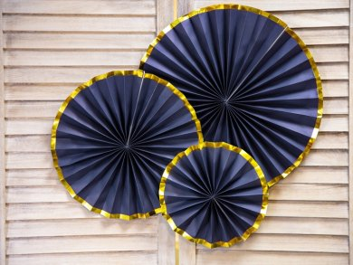 Blue Decorative Paper Fans with Gold Edge 3/pcs