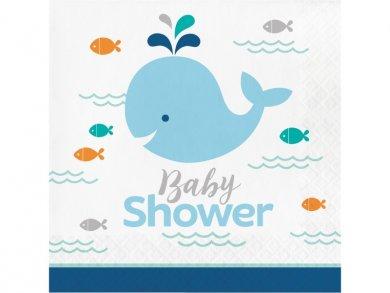 Μπλε Φάλαινα Χαρτοπετσέτες για Baby Shower (16τμχ)