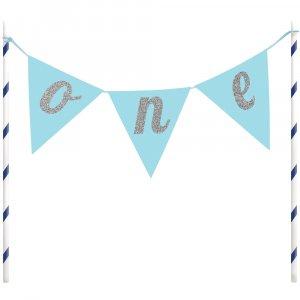 Blue One Banner cake topper