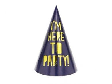 Μπλε Καπελάκια I'm Here To Party Με Χρυσοτυπία 6/Τμχ