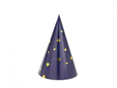 Blue Mini Party Hats with Gold Stars 6/pcs