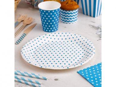 Μπλε Πουά Μεγάλα Χάρτινα Πιάτα (8τμχ)