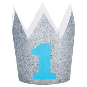 Silver Glitter Crown for Blue First Birthday