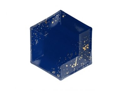 Μπλε-Χρυσό Μικρά Εξάγωνα Χάρτινα Πιάτα 6τμχ