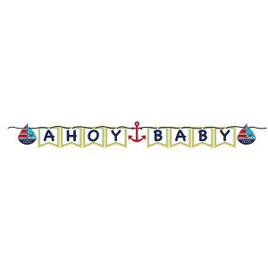 Navy theme Ahoy Baby garland