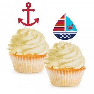 Navy Theme Cupcake Toppers (12pcs)