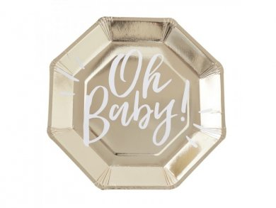 Oh Baby Χρυσά Μεγάλα Χάρτινα Πιάτα (8τμχ)