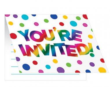 Rainbow Party Invitations 8pcs