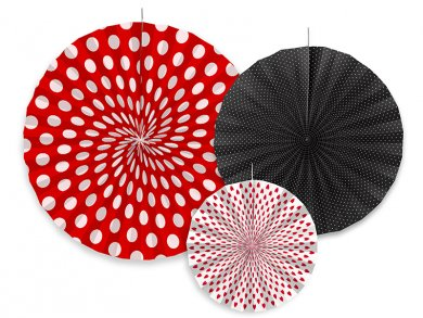 Ladybug hanging decorative fans 3/pcs